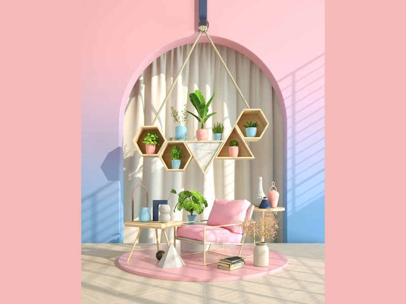Pink Garden decor plants pinky livingroom room comfortable relax garden pink designer design cinema4d c4dart c4d art 3drendering 3drender 3d artist 3d art 3d