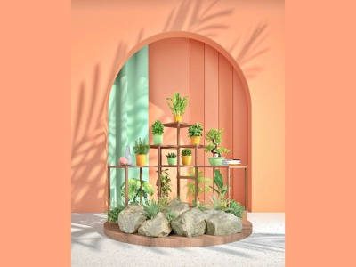Orange Garden green orange livingroom garden rock plants designs rendering 3dgraphics design decor comfortable cinema4d c4dart art 3d 3drendering 3drender 3d artist 3d art