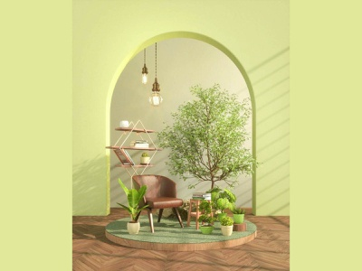 Green Garden art living background relaxing relax livingroom plants 3ddesign greenery green design decor comfortable cinema4d c4dart 3drendering 3drender 3d artist 3d art 3d