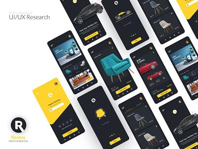 Rentex Mobile App branding ui design mobile app design rental rent furniture rent car
