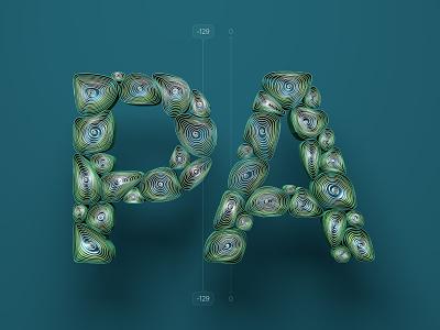 Kerning pairs for designers – PA alphabet letters cinema 4d c4d 36 days of type type 3d kerning illustration