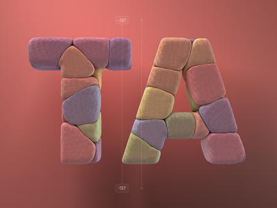 Kerning pairs for designers – TA cinema 4d c4d 3d 36 days of type alphabet kerning letters type illustration