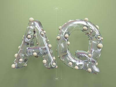Kerning pairs for designers – AQ cinema 4d c4d 3d 36 days of type kerning alphabet letters type illustration