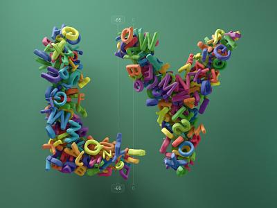 Kerning pairs for designers – LY cinema 4d c4d 3d 36 days of type alphabet letters type kerning illustration