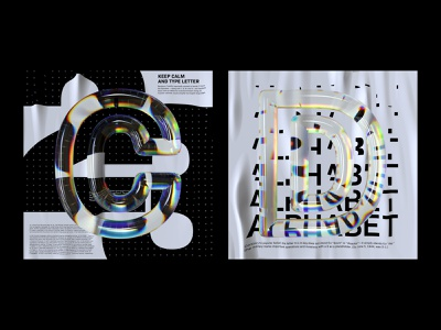 Alphabet Dispersion – C,D cinema 4d c4d glass dispersion 36 days of type alphabet letter typography 3d type
