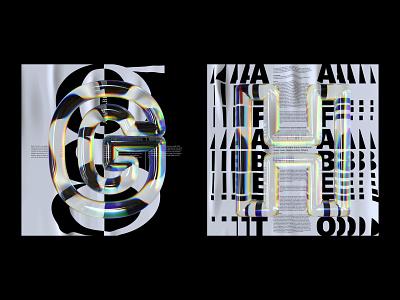 Alphabet Dispersion – G,H poster glass alphabet cinema 4d c4d dispersion 36 days of type letters typography 3d type