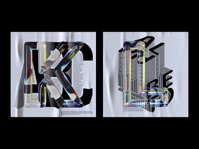 Alphabet Dispersion – K,L cinema 4d c4d glass 36 days of type typography letters 3d type dispersion alphabet