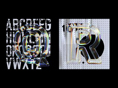 Alphabet Dispersion – Q,R cinema 4d c4d typography 36 days of type 3d type letters glass dispersion alphabet