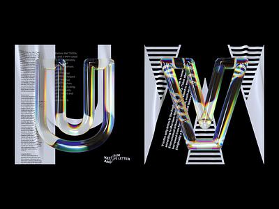 Alphabet Dispersion – U,V 36 days of type cinema 4d c4d letters typography 3d type glass dispersion alphabet