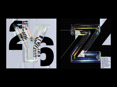 Alphabet Dispersion – Y,Z cinema 4d c4d 36 days of type letters typography 3d type glass dispersion alphabet