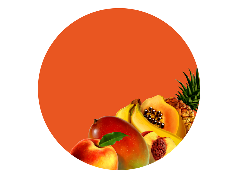 Exotic mix fruits pineapple banana peach mango packaging design package design package packaging fruit food illustration digital painting digital illustration drawing
