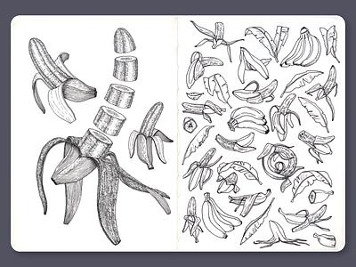 Banana • Sketchbook blackandwhite moleskine lineart ink dotwork banana sketchbook illustration