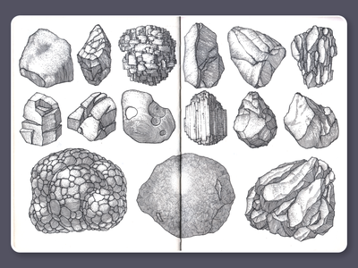 Stones • Sketchbook stones blackandwhite ink lineart dotwork moleskine sketchbook drawing illustration