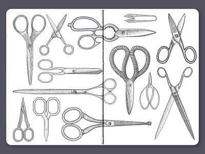 Scissors • Sketchbook scissors blackandwhite ink lineart dotwork moleskine sketchbook drawing illustration