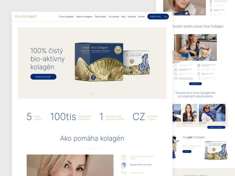 Inca Collagen website typography ux landing page clear web clean design webdesign ui