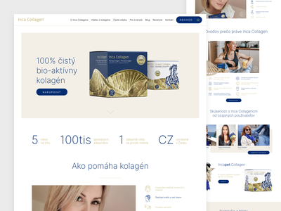 Inca Collagen website typography ux landing page clear web clean design webdesign ui