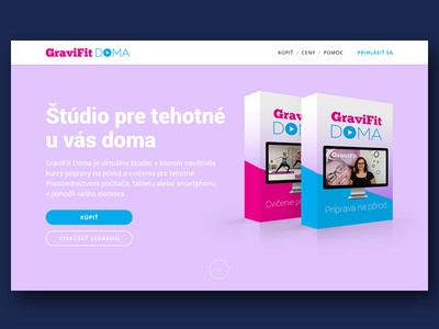 Landing page for online product webdesign ui ux pink software box landing page