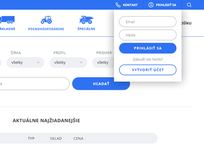 Ecommerce Login Box tyres webdesign ui ux online store login