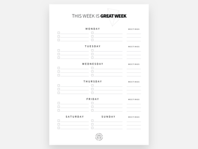 This week is Great week! design clean print reminders manager task freebie template paper list to-do todo