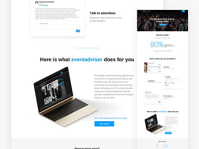 Eventadvisor webdesign ui ux minimal clean clear landing page