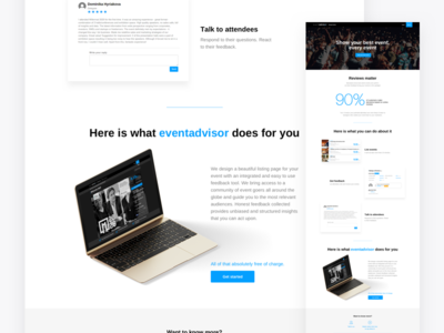Eventadvisor webdesign ui ux minimal clean clear landing page