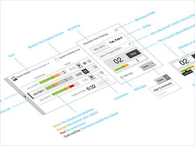 Time Tracking Widget   App UX Design desktop daniel afrahim time tracking widget ios windows app app design ux design ios app ui design wireframe