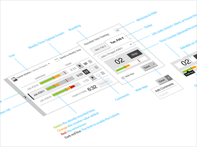 Time Tracking Widget | App UX Design