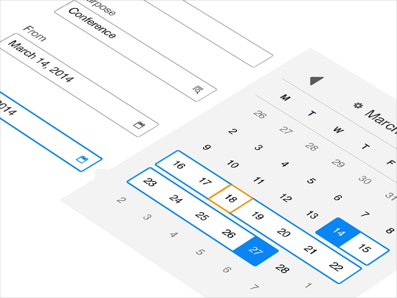 Calendar Widget - Date Range - iOS App ux design calendar widget date ios app windows android ui design interaction design interface daniel afrahim