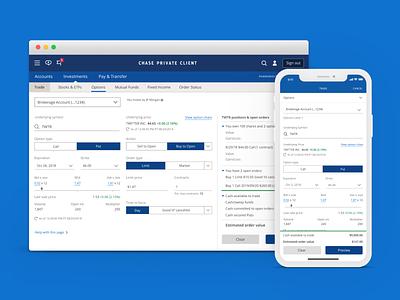 Options Trading at JPMorgan Chase & Co. product design trade mobile design app designer chase options trading minimal ios app design web design app clean ux ui ui design
