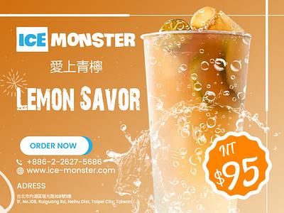Lemon savor drink social media post effects ice cream water spalsh design social media design design branding graphic design