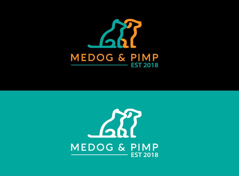 Medog and Pimp flat logo minimal design branding