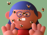 Bees On Her Face