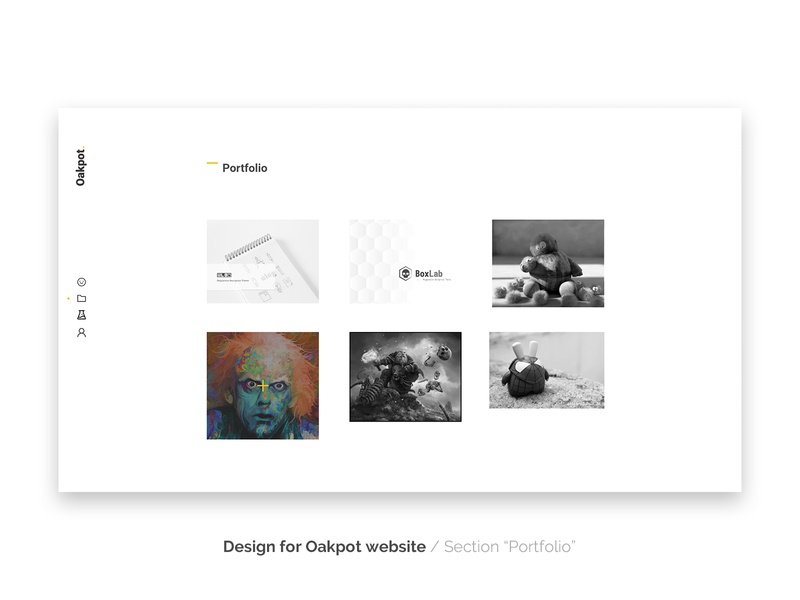 "Oakpot website - section ""Portfolio"""