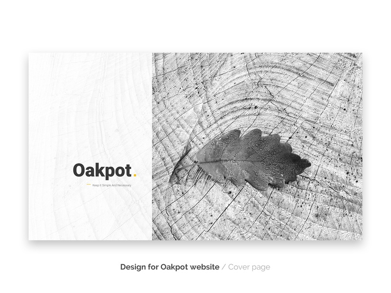 Oakpot website - cover page