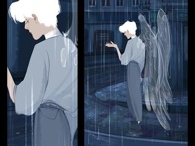 Angel in the city city illustration city blue rain angel palette draw didgitalart artwork artist illustraion color didgital character art