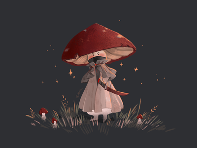 Mushroom Samurai clip studio paint nature art color samurai mushroom character design guy artist didgitalart illustraion didgital character