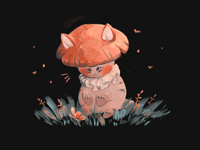 Cat-mushroom characters cat mushroom nature illustration character design palette didgitalart illustraion didgital art color character