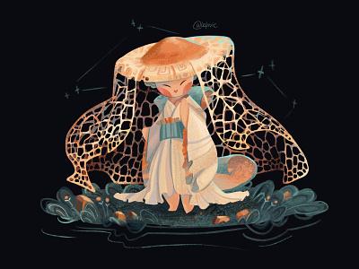 Mushroom Lady kimono girl mushroom characterdesign characters nature artist draw palette didgitalart color character illustraion didgital art