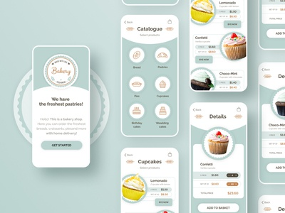 Bakery minimal web app ux design illustration ui