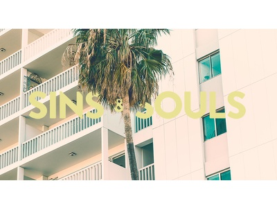 SINS & SOULS in Miami 35mm film vibes miami gold wordmark palms 80s art logo summer sun