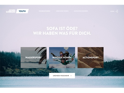Jochen Schweizer Youth Concept light online desktop web interface emotions images ux ui sport action