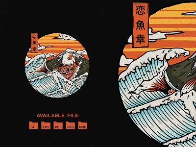 Koi Fish koi lucky koi fish vector ramen japanese style japanese culture japanese art illustration design adobe photoshop adobe illustrator