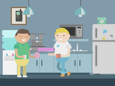 At The Office watercooler phone donut coffee blue illustration vector office