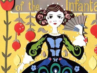 The Birthday of the Infanta book cover fruit illustration childrens illustration lemon yellow pomegranates birds lizards princess collage illustration book cover oscar wilde