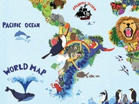 Tags world map dribbble world map a section of a world map collage i created for a clients childs room the piece is full of animals and plants from around the globe gumiabroncs Gallery