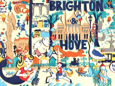 Map of Brighton (& Hove!) animal artwork mermaid paper art paper-cut collage map art map illustration brighton illustration buildings seaside
