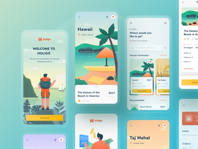 Holigo mobile app design complete screens 🌟 illustration ticket blog details search home adventure beach green landing website ios download ui kit buy mobile traveling explore start