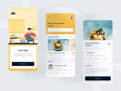 Food recipes mobile design modern clean free design ui buy landing download kit ios home title description image illustration yellow images food and drink yellow product food