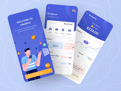 Finance mobile app icon image kit menu home blue mobile ios download free buy clean coin chart profile card transaction money wallet finance