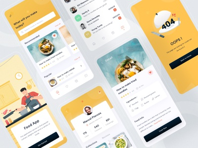 Food recipes mobile design rebound icon android ios product onboarding chat profile title image description yellow images illustration buy mobile yellow food kit clean ui clean modern